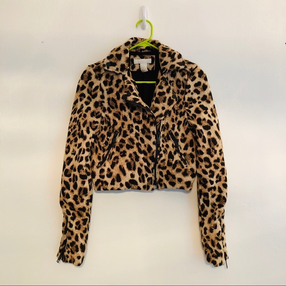 H&M Jackets & Blazers - H&M • Cropped Zippered Jacket • Leopard